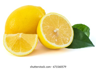 Fresh, yellow lemons. Piece, sheet. On a white background