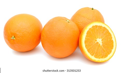 fresh yellow oranges isolated on white