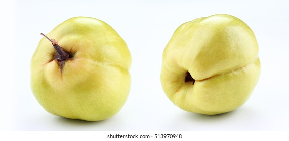 fresh yellow quince  isolated white background