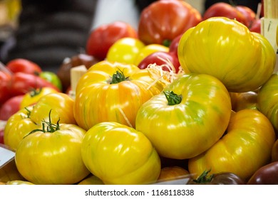 Fresh Yellow, Red & Orange Beef Tomatoes on Sale in Borough Market, Southwark, London UK