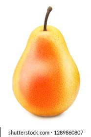 Fresh yellow red pear fruit isolated on the white background with clipping path.