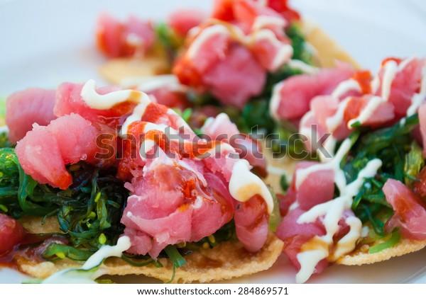 Fresh Yellowfin Tuna Nachos with Seaweed