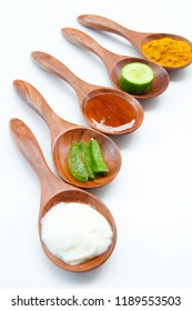 Fresh yogurt, Aloe Vera, Turmeric powder, Honey, Cucumber, Lemon, Ingredients In the face to care for beauty.