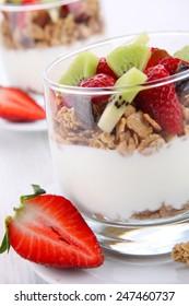 fresh yogurt with fruits and granola