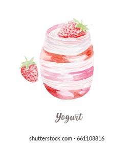fresh yogurt illustration. Hand drawn watercolor on white background.