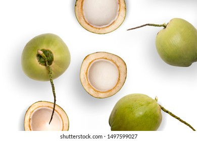 Fresh young coconuts on a white background
