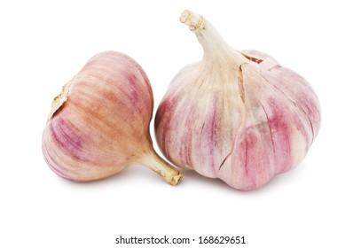 Fresh young garlic isolated on white background