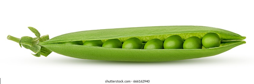Fresh young green peas isolated on white background. Clipping Path