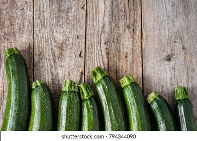 Fresh zucchini or green courgette, farm fresh produce, summer squash, overhead