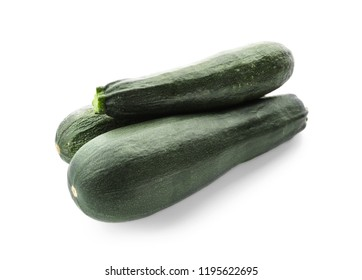 Fresh zucchinis on white background