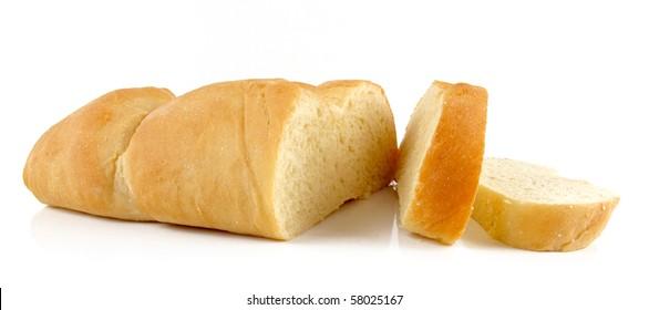 Fresh-baked homemade Italian bread on white background