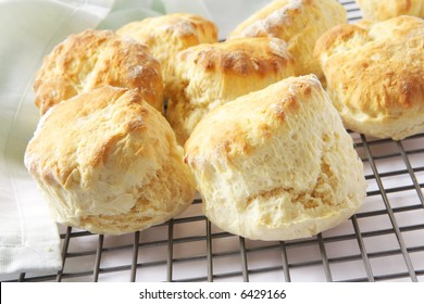 Fresh-baked scones straight from the oven, on a cooling rack.  Ready to serve with jam and cream or butter.  A simple, homely treat.