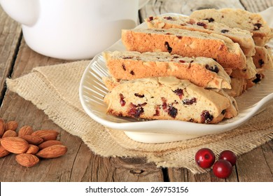 Freshly baked almond and cranberry biscotti. Also available in vertical.