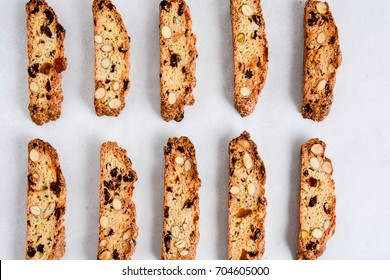 Freshly baked almond and cranberry biscotti. Isolate, top view.
