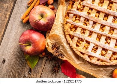 Freshly baked autumn apple pie with cinnamon. Selecive focus. Shallow depth of field.