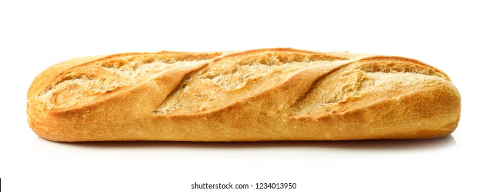 freshly baked baguette isolated on white background