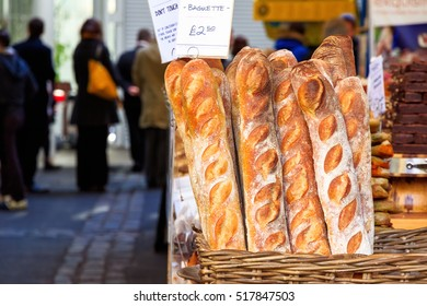 Freshly baked baguette on display at Borough Market, London