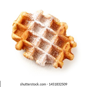 freshly baked belgian waffle with powdered sugar isolated on white background, top view