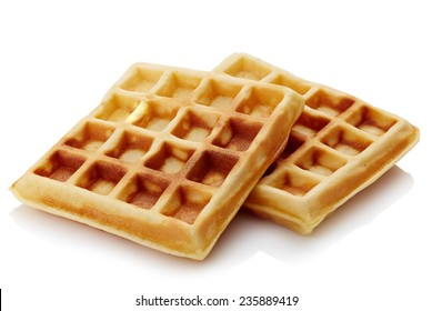 Freshly baked belgian waffles isolated on white background