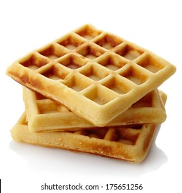 Freshly baked belgium waffles isolated on white background