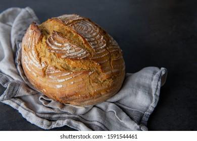 Freshly Baked Boule Bread from Einkorn Flour