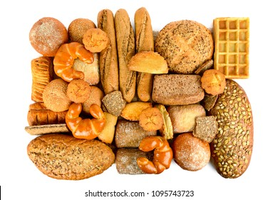 Freshly baked bread and buns isolated on white background