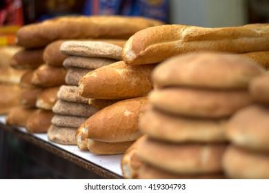 Freshly baked bread in the Eastern markets