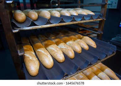freshly baked bread from the oven, a small private bakery, Ukraine
