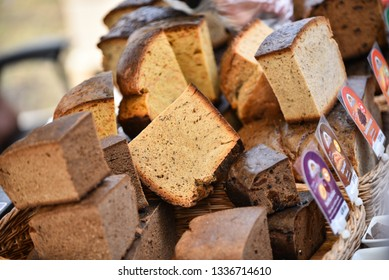 Freshly baked bread for sale from a street stand during the annual Bread and Gingerbread Festival. Rezekne - Latvia, March 2019