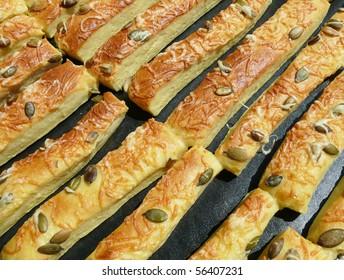 Freshly baked bread sticks
