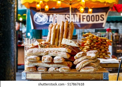 Freshly baked breads on display at Borough Market, London