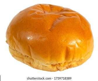 Freshly baked brioche bun isolated on white.