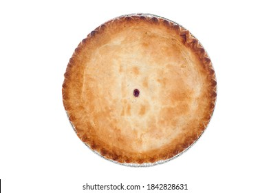 A freshly baked cherry pie on white.  Designers can clone out the center opening and use the image for any kind of crust covered pie.