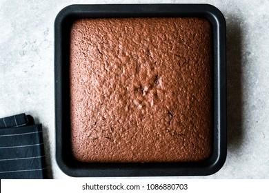 Freshly Baked Chocolate Sponge Cake  in Square Mold.