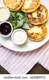 freshly baked cottage cheese pancakes , curd fritters