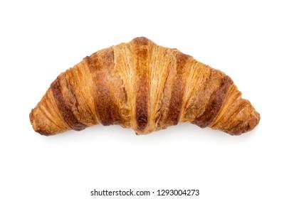 Freshly baked croissant isolated on white background