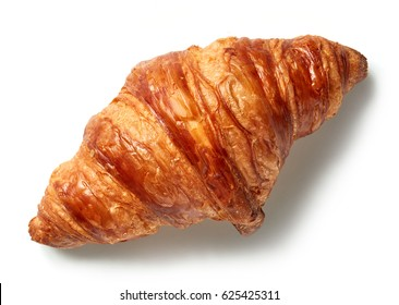 freshly baked croissant isolated on white background, top view