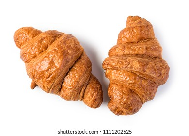 freshly baked croissants on wooden table, Isolated On White Background