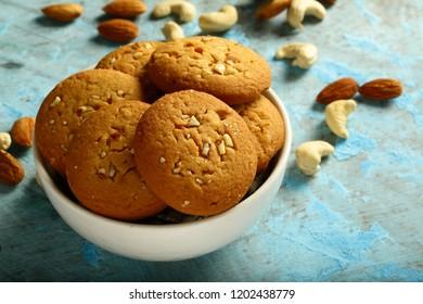 Freshly baked delicious vegan diet snack- Danish cookies.