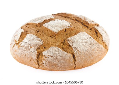 Freshly baked domestic rye bread with bran, isolated on white background.