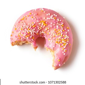 freshly baked eaten donut isolated on white background, top view