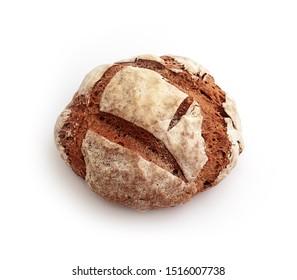 Freshly baked, handmade rural rye Macedonian bread, isolated on white background.