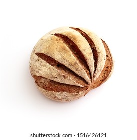 Freshly baked, handmade rural rye Russian bread, isolated on white background.