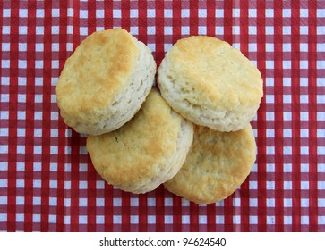 Freshly baked homemade biscuits on red and white checkered background