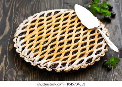Freshly baked homemade blueberry pie.