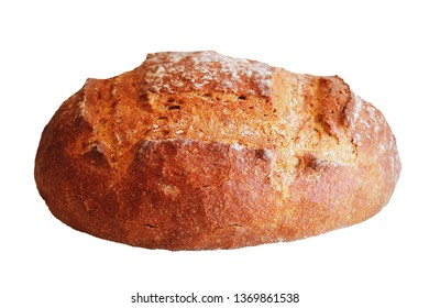 Freshly baked homemade bread loaf on white background