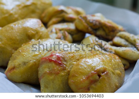 Freshly Baked Homemade Cakes Traditional Russian Stock Photo