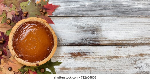 Freshly baked homemade pumpkin pie for Thanksgiving holiday ready to eat