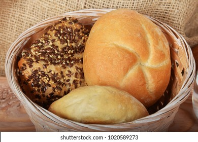 freshly baked hot rolls with seeds of sesame and linseed