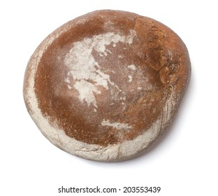 A freshly baked loaf of bread covered with rye flour in the shape of Greece.(series)